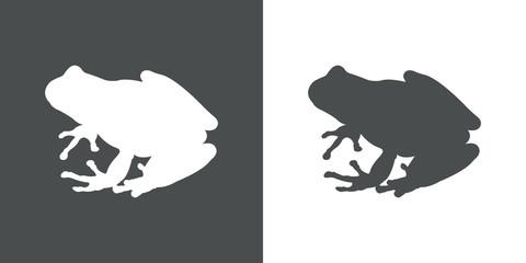 Icono plano silueta rana en gris y blanco