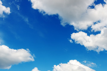Beautiful clouds on the blue sky.