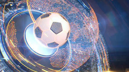 Football. Futuristic interface sport concept. Technology digital soccer ball