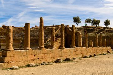 Columns of Timgad, a Roman-Berber city in the Aures Mountains of Algeria. (Colonia Marciana Ulpia Traiana Thamugadi). UNESCO World Heritage Site