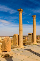 Ruins of Timgad, a Roman-Berber city in the Aures Mountains of Algeria. (Colonia Marciana Ulpia Traiana Thamugadi). UNESCO World Heritage Site