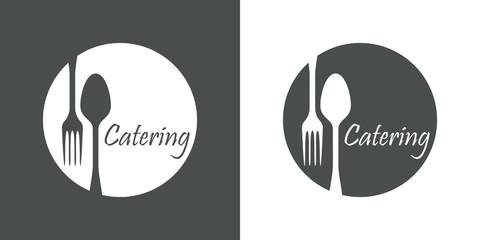 Icono plano Catering en circulo con cubiertos en gris y blanco