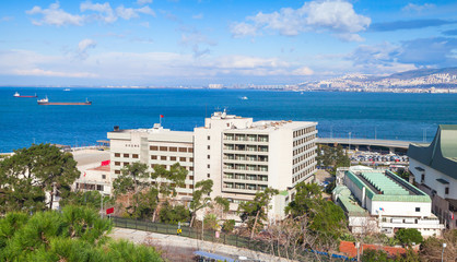 Modern buildings are on coasts of Izmir