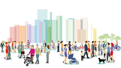 Stadt mit Personengruppen, Illustration