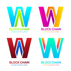 Letter W logos Colorful shape with Blockchain Technology and Abstract Interlocking, Bitcoin Cryptocurrency data, Digital connect link network Concept