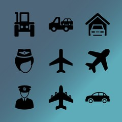 Vector icon set about transport with 9 icons related to maintenance, crew, traveler, luxury, eighteen-wheeler, atmosphere, sunset, land vehicle, flat and tire