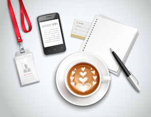 Work Place Cappuccino Realistic Illustration