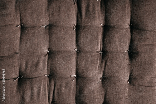 Brown Fabric Sofa Padding Texture Pattern Close Up Brown Color