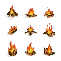 Cartoon Fire Wood and Campfire Set. Vector