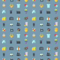 Art icons seamless pattern background atist ink graphic color creativity movie collection vector illustration.