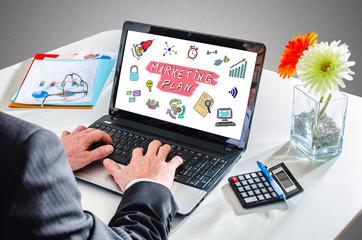 Marketing plan concept on a laptop screen