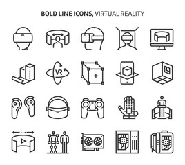 Virtual reality, bold line icons.