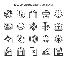 Crypto Currency, bold line icons.