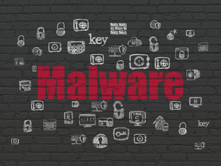 Privacy concept: Painted red text Malware on Black Brick wall background with  Hand Drawn Security Icons