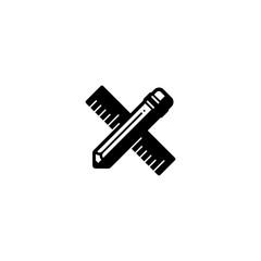 Ruler pencil measurement vector icon symbol pictogram