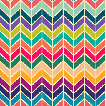 Seamless vector abstract retro 60s ribs bright colorful pattern for fabric, craft, wrapping