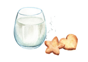 Dairy product. Glass with milk and cookies. Watercolor hand drawn illustration, isolated on white background