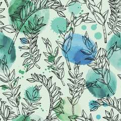Jungle seamless watercolor pattern with tropical plant