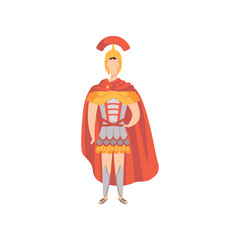 Roman warrior, soldier in traditional clothes of Ancient Rome vector Illustration on a white background