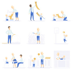 Parents and their kid spending time together, doing homework and playing set, family lifestyle concept vector Illustrations on a white background