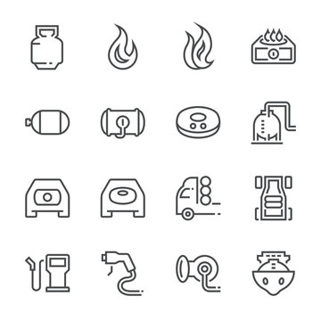 Natural gas for vehicle icon set, 48x48 perfect pixel and editable stroke.