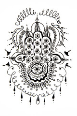 Hamsa decorative black and white hand drawing