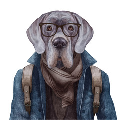 Portrait of Great Dane with glasses and backpack, hand-drawn illustration