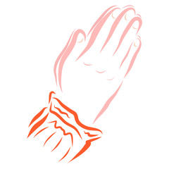 Hands of a praying woman or girl, religion