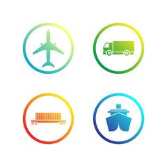 Set of trasportation / logistics icons. Vector illustration