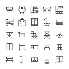 Furniture vector flat line icons. Living room tv stand, bedroom, baby crib, kitchen exhaust hood, sofa, nursery, dining table, door window. Thin signs collection interior store. Pixel perfect 48x48.