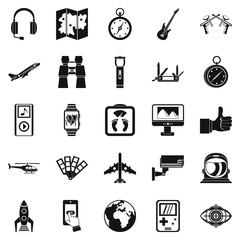 Flight icons set. Simple set of 25 flight vector icons for web isolated on white background