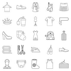Gift icons set. Outline set of 25 gift vector icons for web isolated on white background
