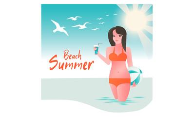 girl in swimsuit bikini, hello summer, holidays on the beach, sexy girl in bikini.