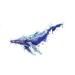 Watercolor ocean whale