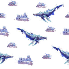 Watercolor whale pattern
