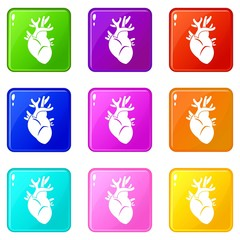 Heart icons of 9 color set isolated vector illustration