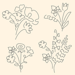 Bouquet set made of continuous lines flowers