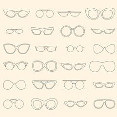 Linear eyewear set, various sunglasses shape set, trendy glasses style