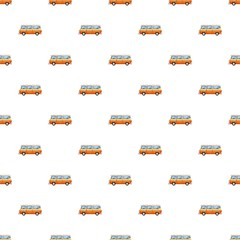 Mini bus pattern seamless repeat in cartoon style vector illustration
