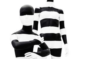 Art mannequin black and white stripesisolated on white background.