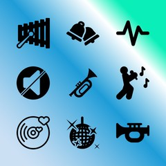 Vector icon set about music with 9 icons related to audio, pink, single, turntable, album, push, shine, warble, broadcasting and photo