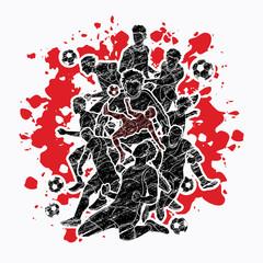 Soccer team composition, soccer player action designed on splatter color background graphic vector