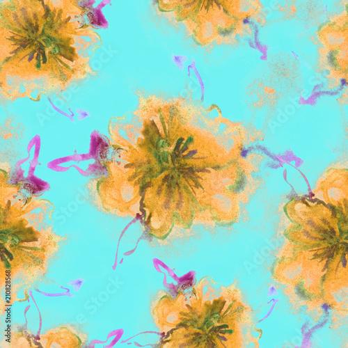 Floral Watercolor Pattern. Summer Vintage Flower Print. Modern Dress Design. Bud Repeating Wallpaper