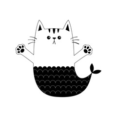 Cat mermaid fish tail Kitten ready for a hugging. Contour line. Open hand paw print. Kitty reaching for a hug. Funny Kawaii baby animal. Cute cartoon character. Pet collection. Flat White background.