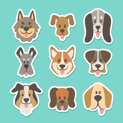 Cute sticker collection with different types of dogs in cartoon style. Vector illustration.