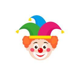Clown head in jester hat
