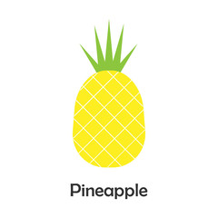 Pineapple in cartoon style, card with fruit for kid, preschool activity for children, vector illustration