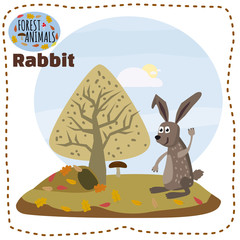 Cute cartoon rabbit on background landscape forest illustration, vector, isolated