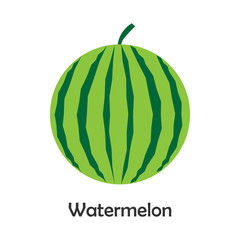 Watermelon in cartoon style, card with fruit for kid, preschool activity for children, vector illustration