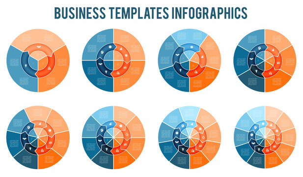 Ring of arrows Infographic. Templates for  3, 4, 5, 6, 7, 8, 9, 10 positions. Can be used for Business presentation, Web design, infograph, Data Visualization. Set of business icons